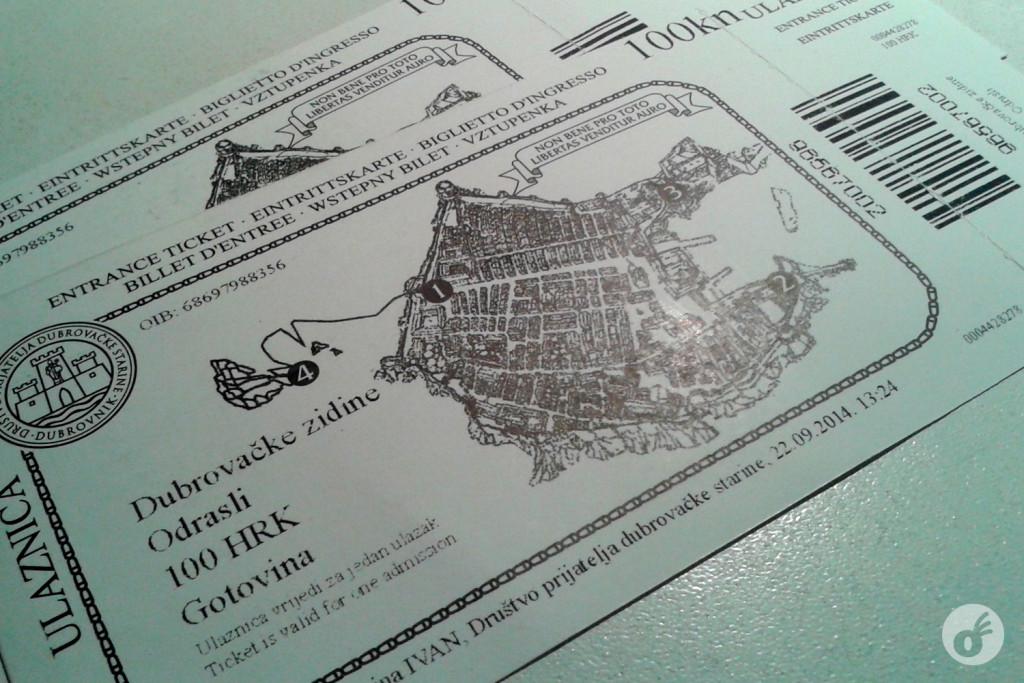O ingresso para o passeio pelas muralhas. Os números em destaque são os locais do passeio onde os fiscais verificam se sua entrada foi paga/está válida.