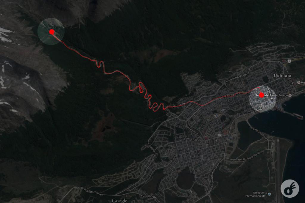 A distância do centro (dir) até o Glaciar Martial (esq).