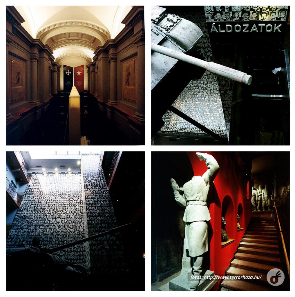 Os totens com os símbolos, as imagens do tanque e fotos, e as escadarias.