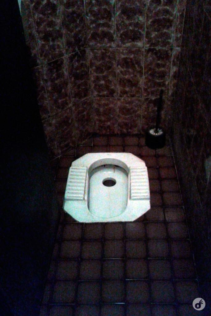 Caso precise ir ao banheiro, pergunte pras pessoas certas :)