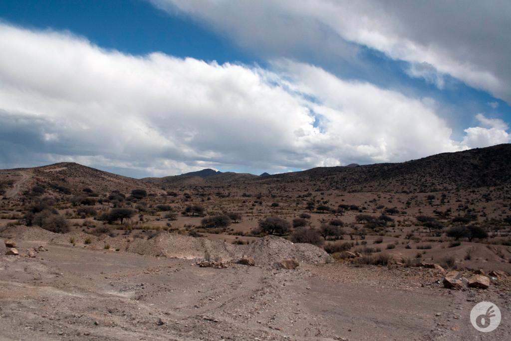 A paisagem pela janela do ônibus: desolação e aridez.